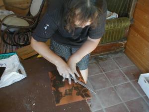 Schleifen der Kupferplattenkante